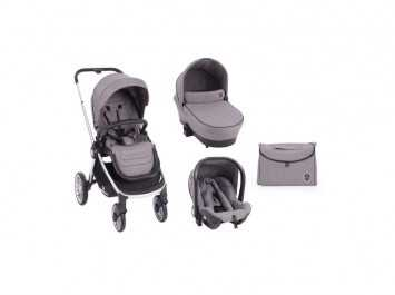 Καρότσι Stroller 3 in 1 Vicenza Luxury Grey silver frame