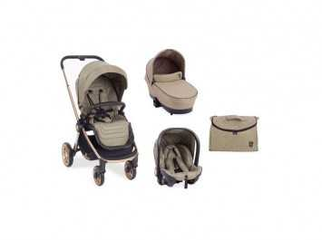 Καρότσι Stroller 3 in 1 Vicenza Luxury Beige golden frame